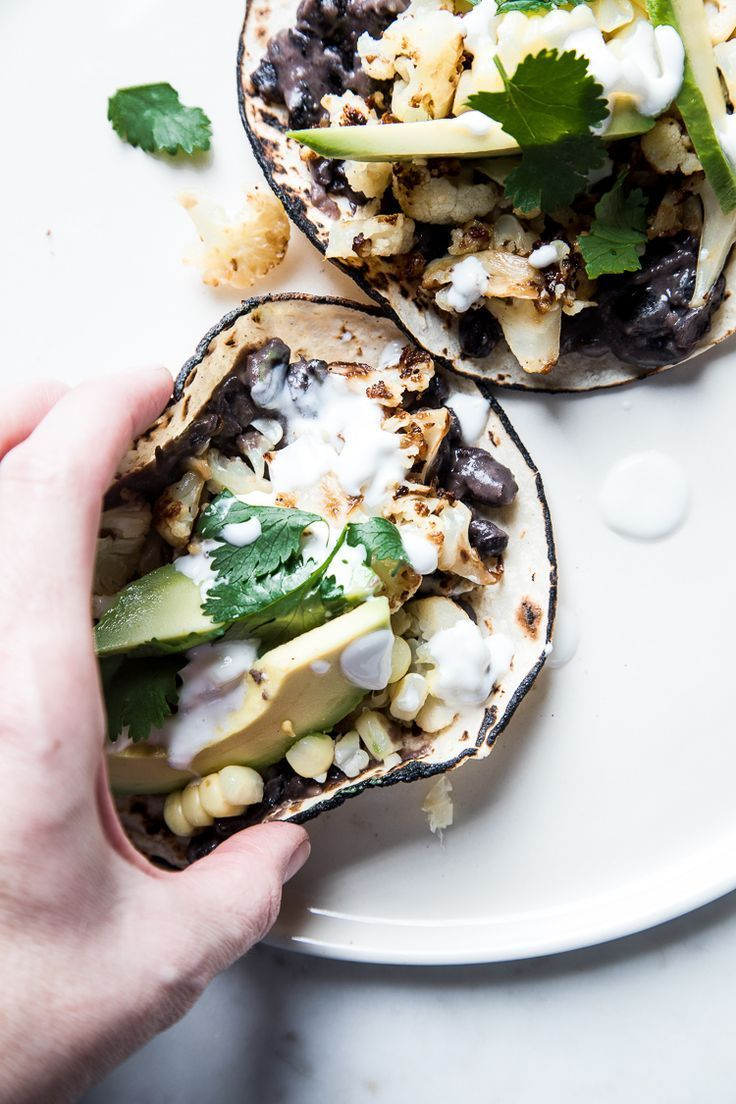 Roasted Cauliflower, Corn, and Black Bean Tacos with Avocado
