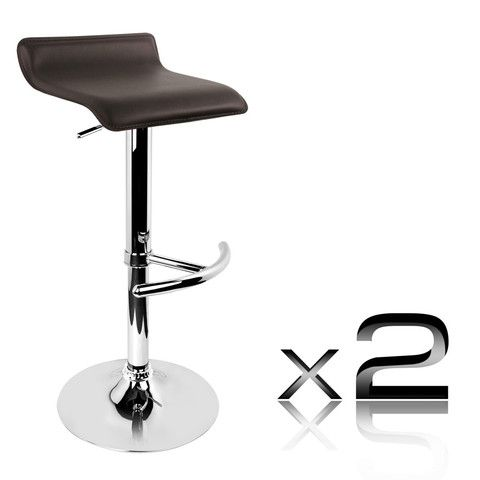 Set of 2 PVC Leather Kitchen Bar Stool Chocolate - Signum Deals - Australia's Bargain Warehouse - 1