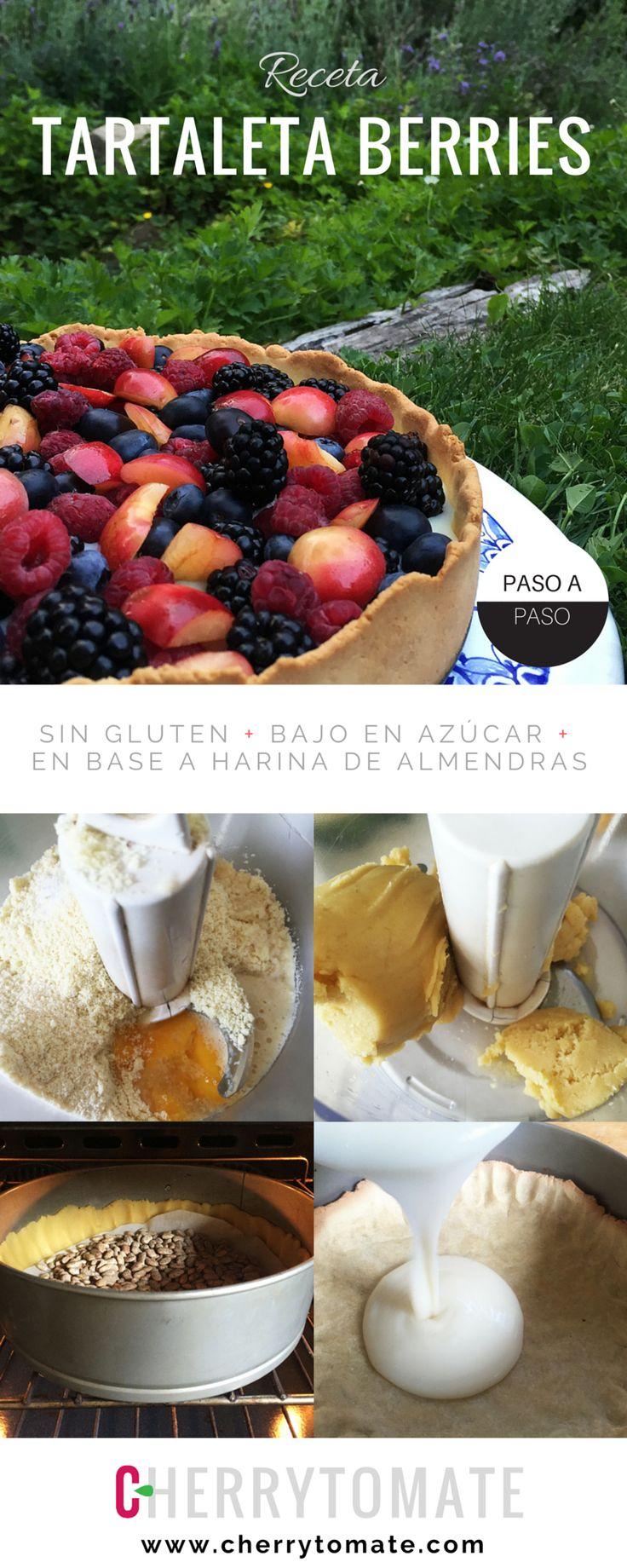 Receta Tartaleta de Berries Sin Gluten - La receta está con fotos de cada uno de los pasos - Es mucho más liviana que una tartaleta normal, hecha con harina de almendras y poca azúcar - Tienen que probarla!