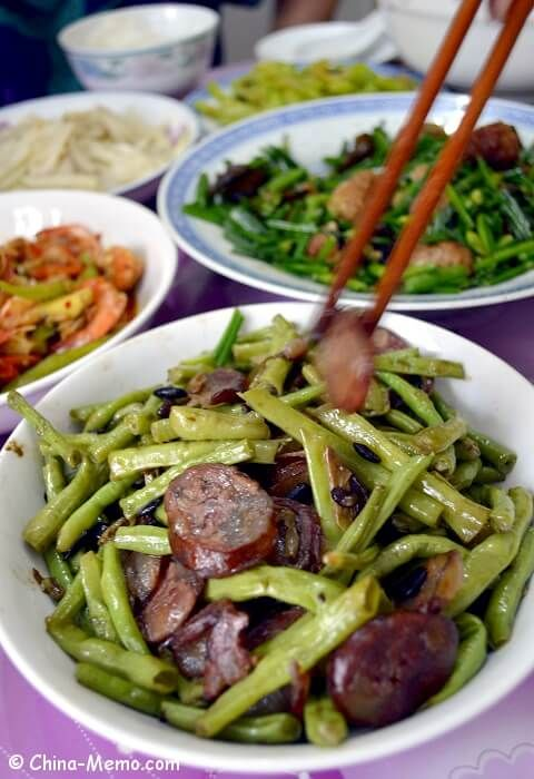 Our Home Cooking Recipe And Video For Chinese Beans Fried Sausages With Black