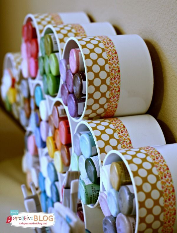 Craft Room Storage Ideas - Storing craft paint. PVC Pipe craft ideas | TodaysCreativeLife.com