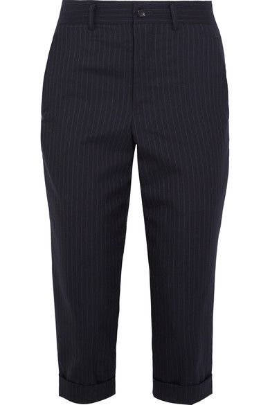 Comme des Garçons Comme des Garçons - Cropped Pinstriped Wool Tapered Pants - Navy