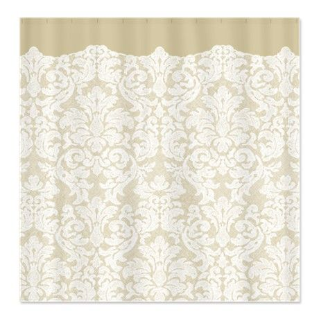Lace Pattern   White Tan Shower Curtain