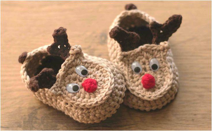 Crochet Rudy The Reindeer Baby Booties – Yarnandhooks