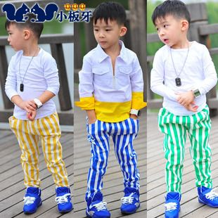 2013 autumn korean version of the new autumn childrens clothing childrens baby boy vertical stripe casual pants long trousers 6749 only $10.31USD a Piece