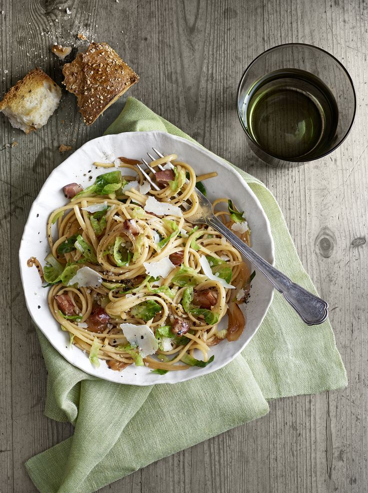 Pancetta-and-Brussels Sprouts Linguini  - CountryLiving.com
