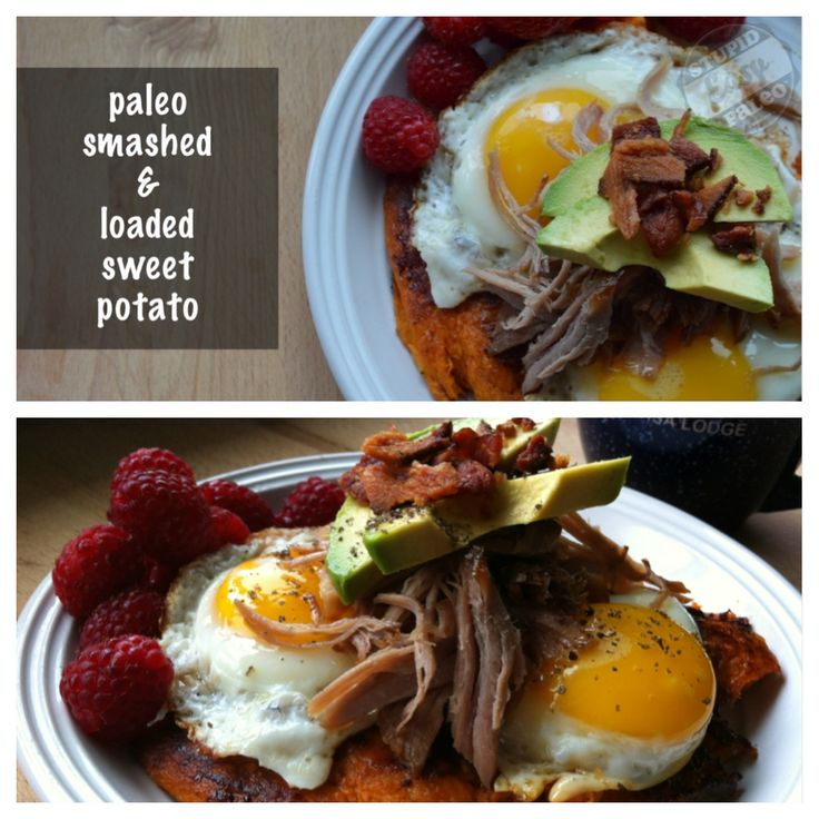 Paleo Smashed & Loaded Sweet Potato...crispy and caramelized and stacked with mouth-watering toppings. http://stupideasypaleo.com/2013/07/29/paleo-smashed-loaded-sweet-potato/ #paleo #bacon #glutenfree #grainfree #dairyfree
