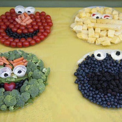 Sesame Street Character Vege Plates (baby Shower Or Birthday Party)