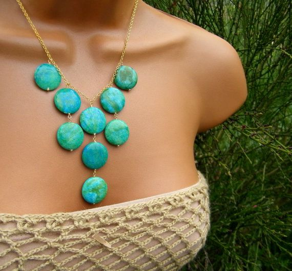 Tropical Blue and Green Mottled Jade Bib Necklace.