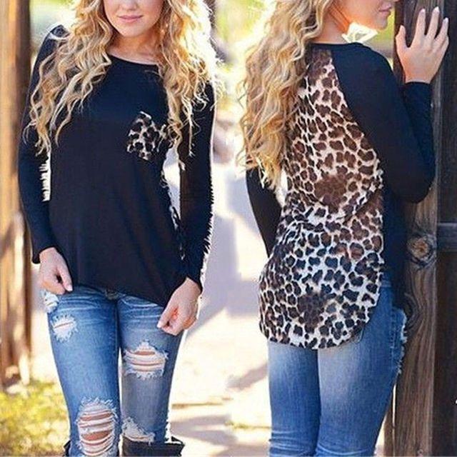 Nuevo 2015 para mujer Ladies Leopard blusas de gasa blusa suelta de manga larga t-shirt moda Casual Tops barato vetement femme Z1