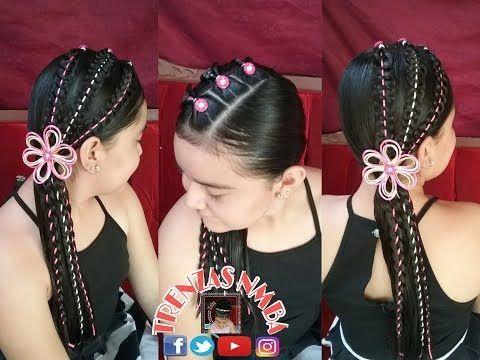 PEINADO PARA NIÑAS/ TRENZA GUSANO DE 4 Y BOTONES/ PARA FIESTAS O PARA COLEGIO/ TRENZAS NMBA - YouTube
