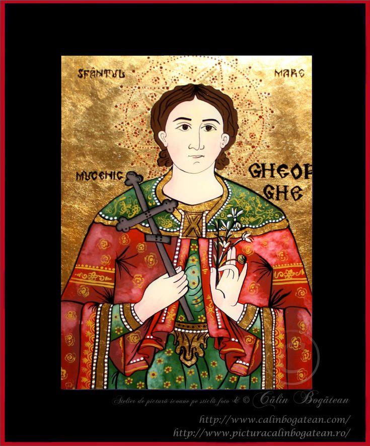 Sfântul Mare Mucenic Gheorghe icoană naivă pictată pe dosul sticlei în ulei pictură tradițională lucrare de artă religioasă icoană ortodoxă pe sticlă icoană Sfântul Gheorghe icoană  pictată  pe sticlă cu Sfântul Mare Mucenic Gheorghe