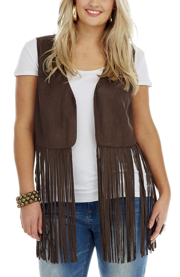 Long Fringe Vest - Summer Brown -  Style No: V005 Soft feel light weight Mock Suede Vest. This cool Boho Vest features long fringes falling from the waistline over the hips. It has an Edge to edge front closure. #dreamdiva #dreamdivafiles #fashion #plusstyle
