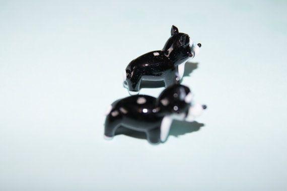 Lampwork glass black and white Siberian Husky dog by Henrysbeads, $6.50