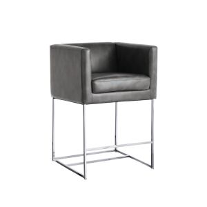 AGENCY COUNTER STOOL - GREY LEATHER