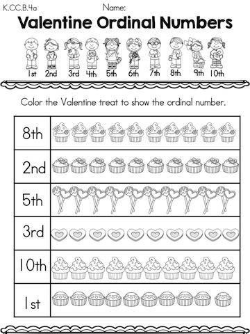 Ordinal numbers, Kindergarten math worksheets and Kindergarten math on ...