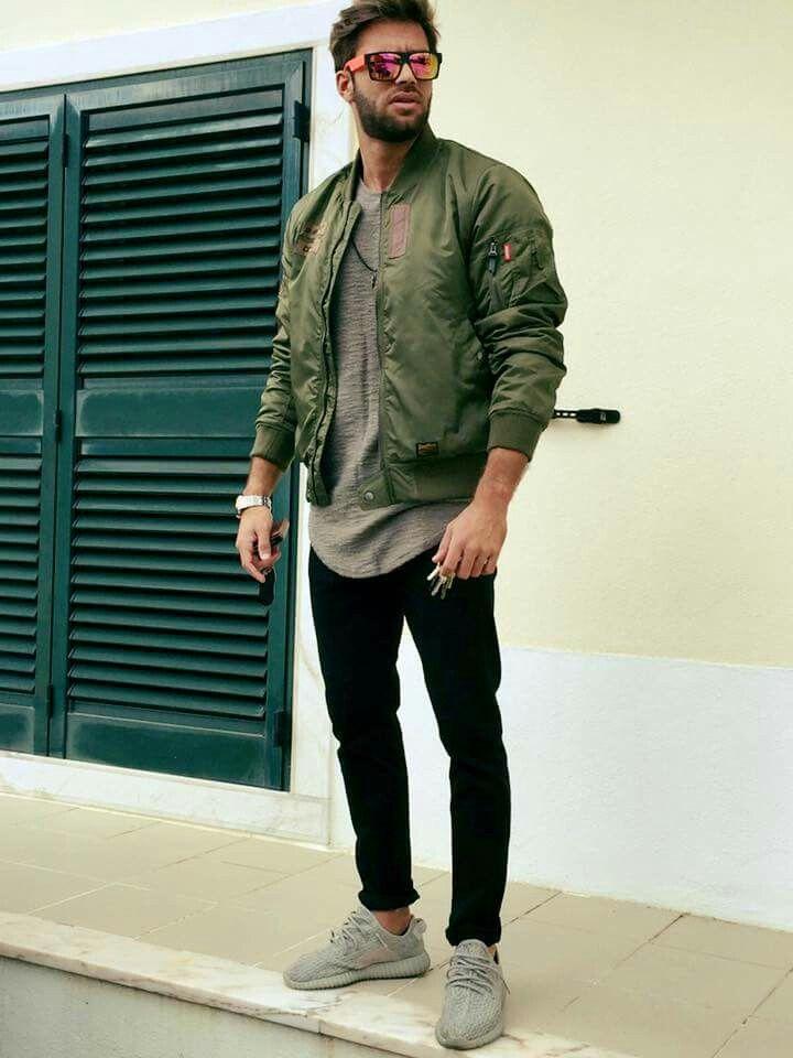 Green Jacket Gray T Shirt Black Pant Adidas Yeezy Moonrock