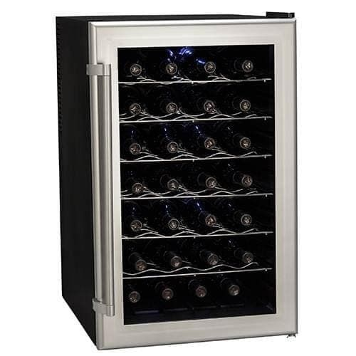 Koldfront TWR282 18 Inch Wide 28 Bottle Wine Cooler with Thermoelectric Cooling, Black
