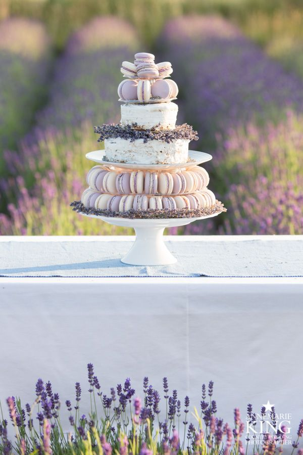 A lavender wedding macaron tower with semi naked lavender and poppy seed wedding cake. From a ceremony Styled Photo Shoot. Organised by http://www.thememoryboxceremonies.co.uk/ Photo's by http://www.annemarieking.co.uk/ at http://woldswaylavender.co.uk/ #weddings #macarons #macaroons #Yorkshire #Lancashire #Cheshire #northwest #weddingcake