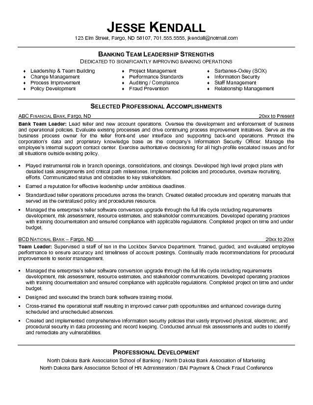 Leadership 4-Resume Examples Sample resume format, Bank teller