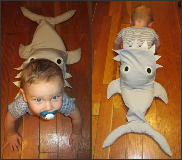 For a crawling baby, this shark costume is genius!