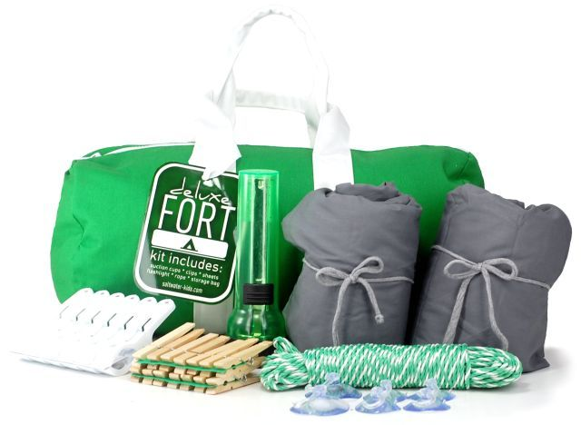 Perfect DIY kid gift idea - fort kit with ropes, clothesline, sheets, etc.