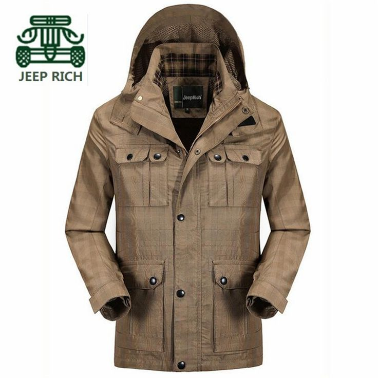 RICH AFS JEEP Summer Man's Waterproof Jacket,Detachable Hooded Solid new design Man's Mutil Pockets Jackets Plus Size Brand