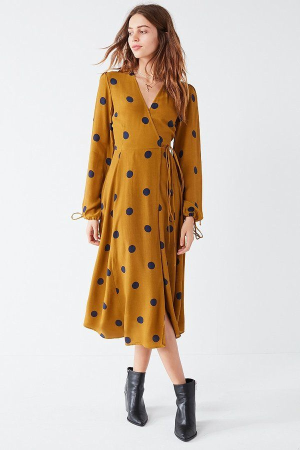 Urban Outfitters UO Audrey Long-Sleeve Wrap Midi Dress | affiliated link | #polkadotdress #womendress
