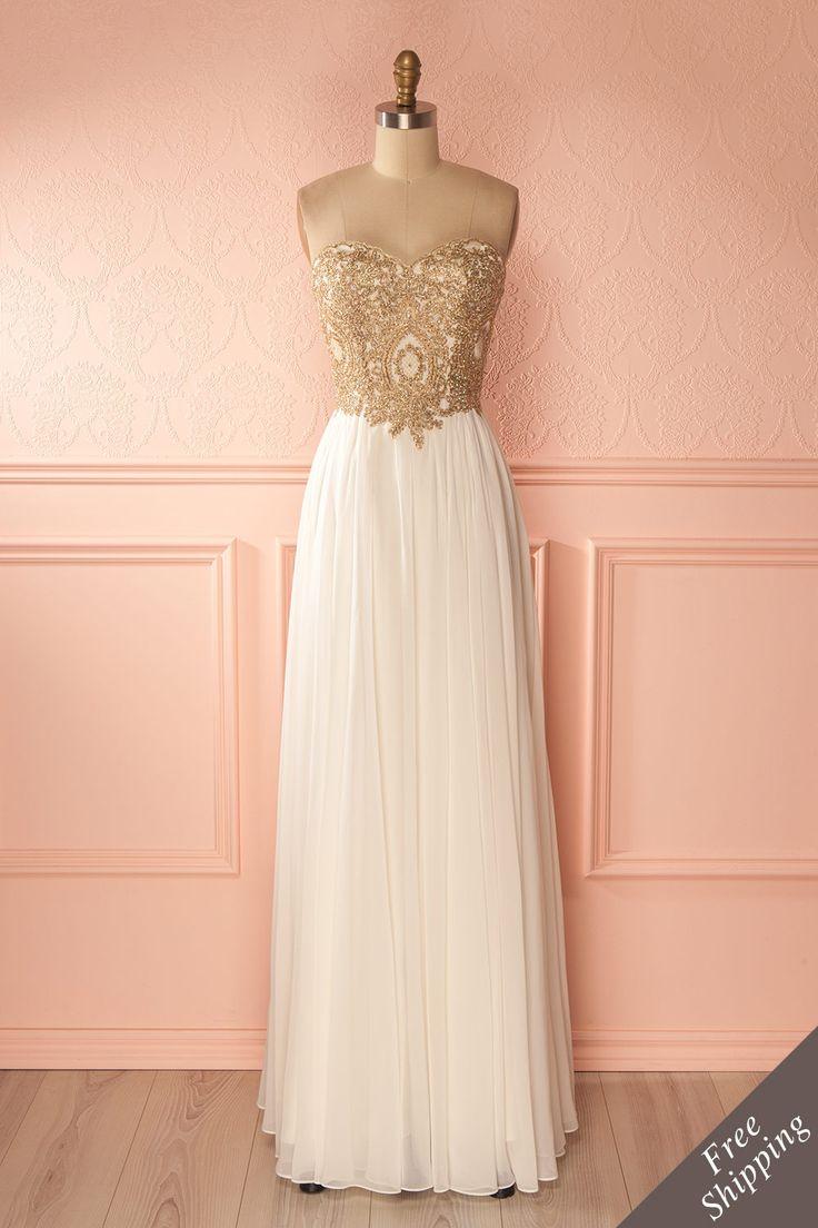 Robe de bal longue blanche buste brodé de cristaux - White crystals embroidered bust empire gown