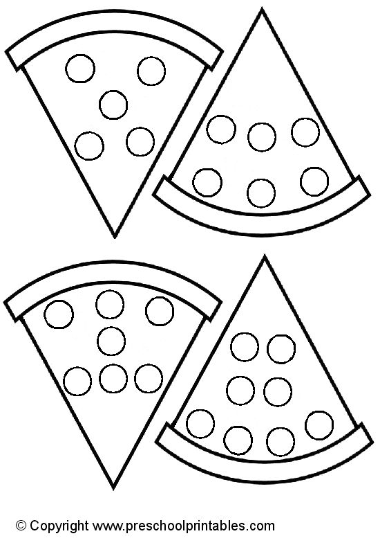 www.preschoolprintables.com / File Folder Game/ Pizza Number Party
