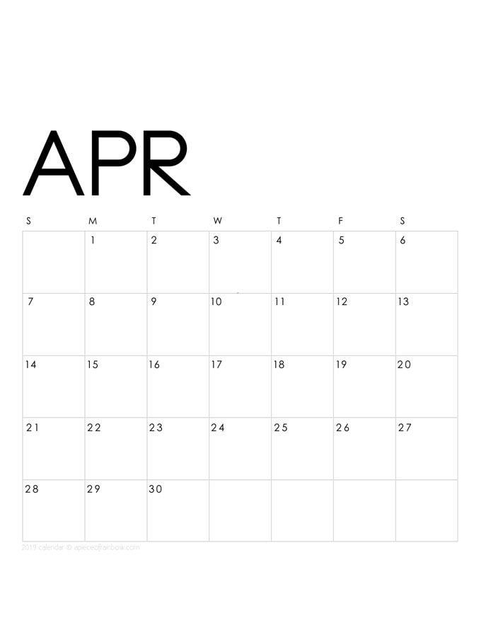 Printable April 2019 Calendar Monthly Planner 2 Designs Flowers