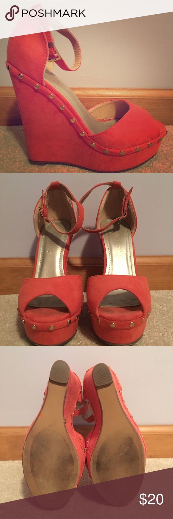 Liliana Suede Coral Wedge Sandal Worn once, in great condition! Suede wedge sandal with gold stud detail. Buckles at ankle. Liliana Shoes Wedges