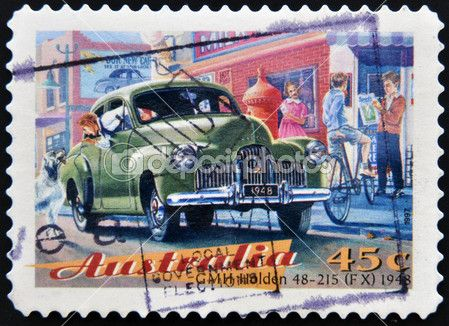 A Stamp printed in Australia circa 1997 dedicated to classic cars, shows the GMH Holden 48-215 (FX)