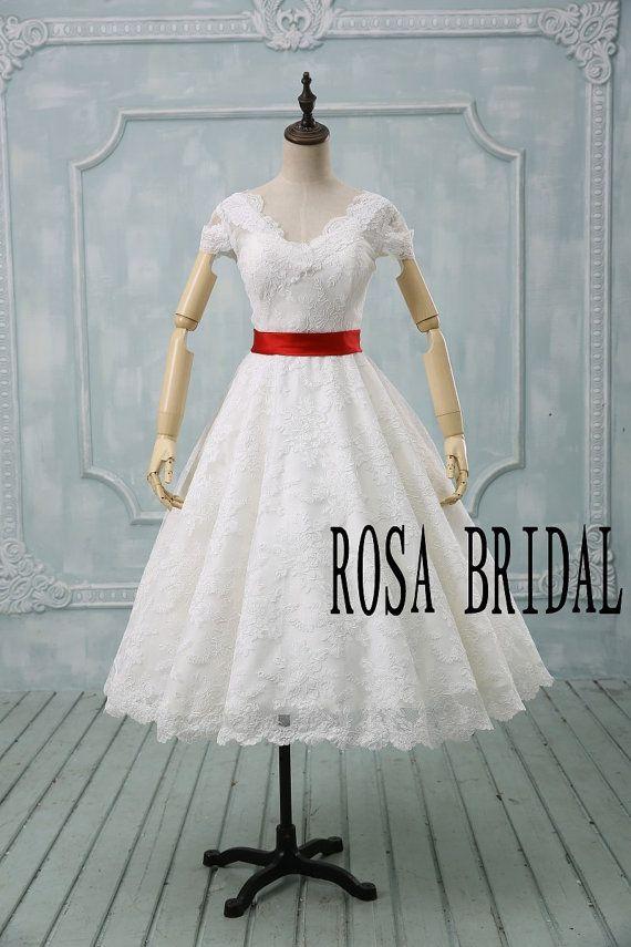 Vintage wedding dress 1950's,  vintage wedding dress lace ivory, Ivory bridal dress lace, Lace wedding dress red belt custom size