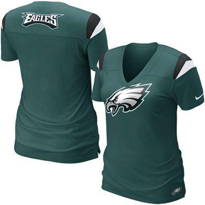 Nike Philadelphia Eagles Ladies Fashion Football Premium T-Shirt - Midnight Green