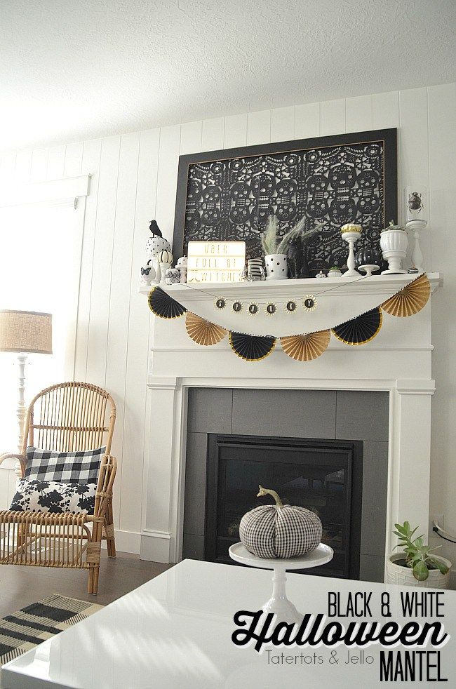 Black and White Neutral Halloween Mantel Decorating