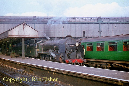 30788 Sir Urre of the Mount  N15 'King Arthur' class 4-6-0 30788 waits for departure time at London's Waterloo Station in October, 1959. Photo Ron Fisher