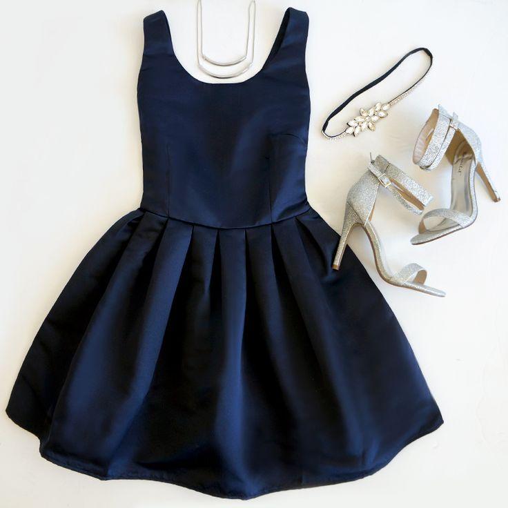 Glamorous Come Wassail Away Navy Blue Skater Dress