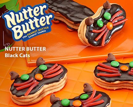 15 mins to make, serves 24 -- INGREDIENTS -- BAKING & SPICES • 36 Candy-coated chocolate, miniature • 24 Milk chocolate chips (about 2 tbsp.) SNACKS • 1/3 cup Candy coating wafers, black • 12 Nutter butter cookies DESSERTS • 72 pieces String licorice, red