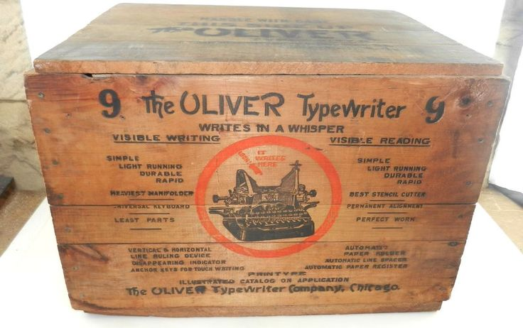 The OLIVER #9 Typewriter Wooden SHIPPING CRATE w/ Original Lid