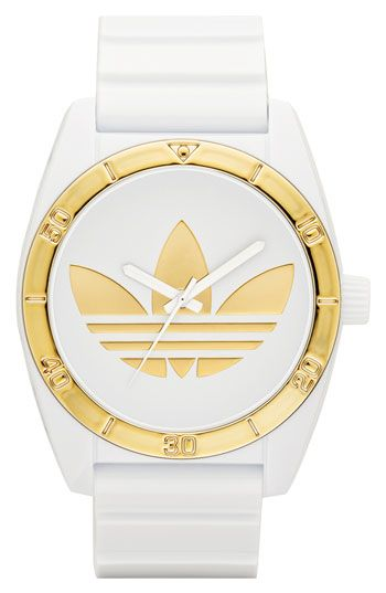 adidas Originals 'Santiago' Metallic Accent Watch, 42mm available at Nordstrom