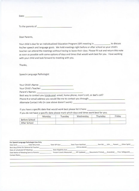 IEP Meeting Parent Letter