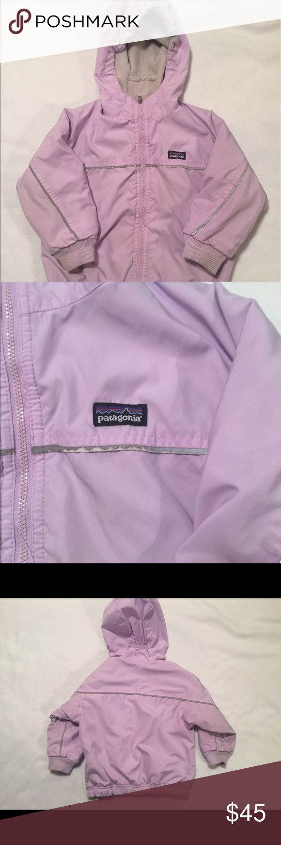 Patagonia Toddler Girls Snow Jacket, Size 24 mo Lavender outer shell with grey fleece lining. Midweight Jacket. Machine washable polyester. Good used condition with the only visible sign of wear being on reflective trim. Girls size 24T. 🍩 Patagonia Jackets & Coats