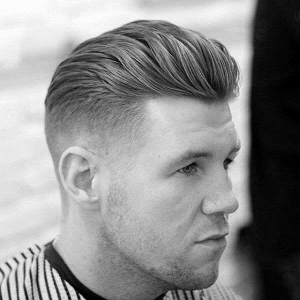 Slicked Backdapper Taper Fade With Part Mens Hair