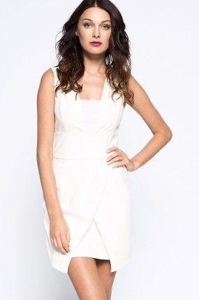 Guess Jeans - Sukienka mini kopertowa biała