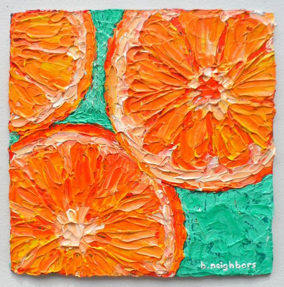 Orange Slices Acrylic Painting On Canvas By