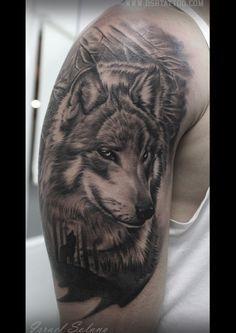 Lobo bosque tattoo. Israel Solano, Madrid