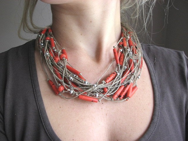 Necklace | GreyHeartOfStone Designs. Linen and red glass beads http://berryvogue.com/jewerly