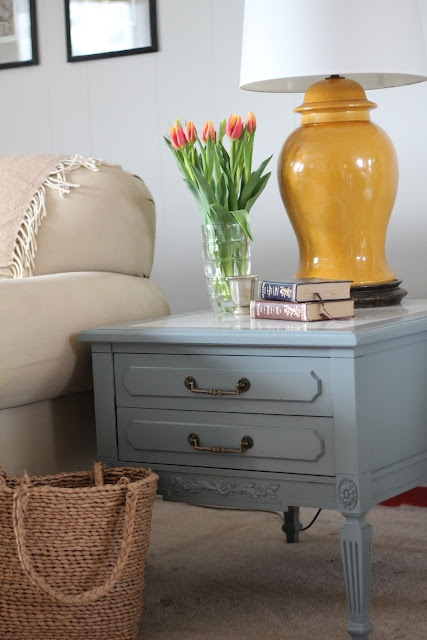 Love painted furniture...paint tip: use Behr self priming semi-gloss (Nature Retreat) only needed 1 coat!- THE COLORS FOR MY BEDROOM :)