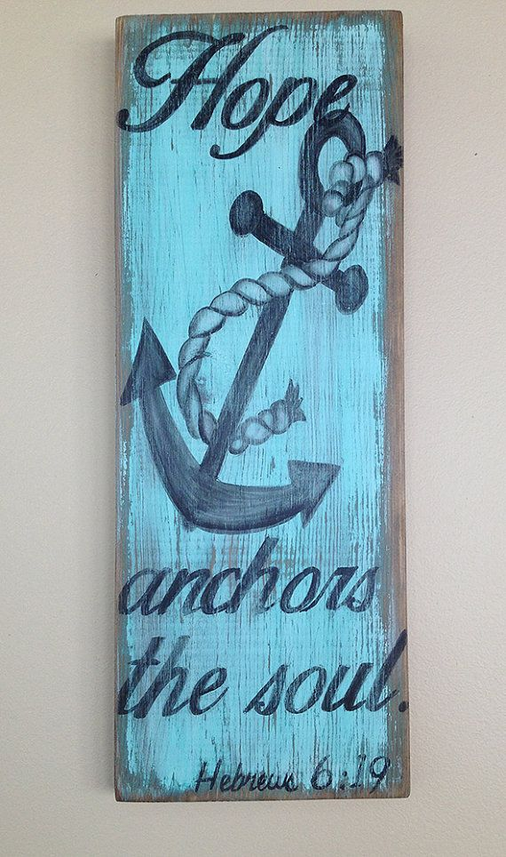 Hope anchors the soul wood wall hanging by WhisperwingDesigns